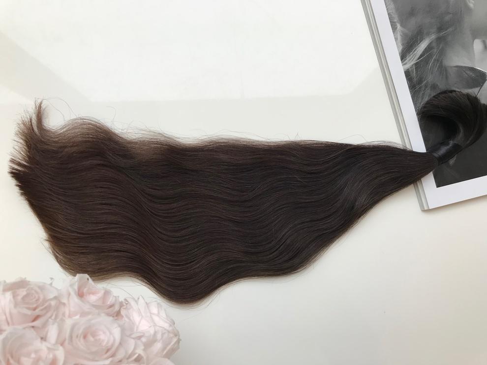 34cm/32gram Włosy słowiańskie dziewicze kucyk A72