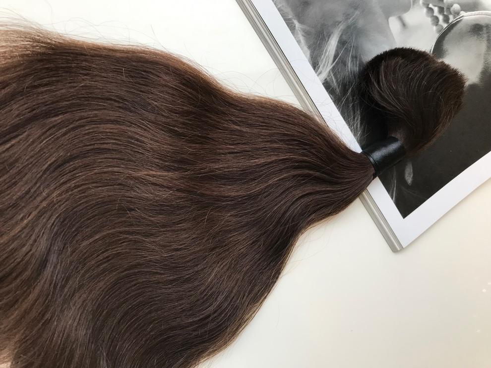 48cm/109gram Włosy słowiańskie dziewicze kucyk A103